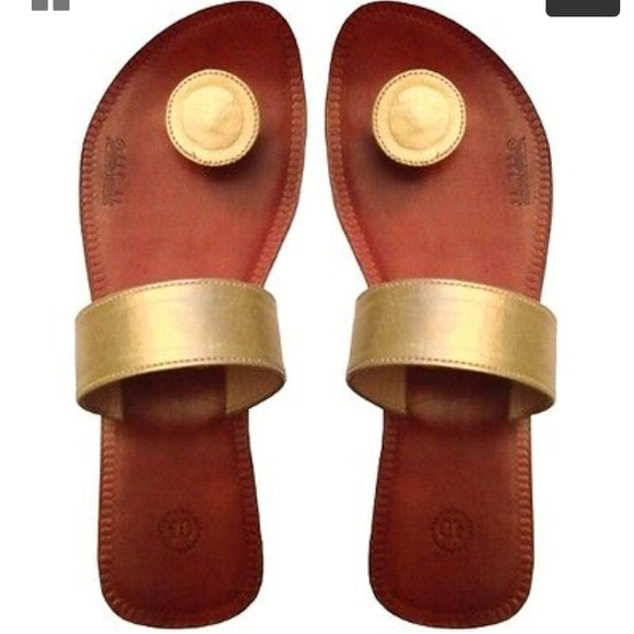 """Paduka Shoes - Indian style button toe slide sandals, """"Adesso"""""""